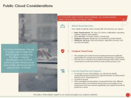 Public Cloud Considerations Costs Ppt Powerpoint Presentation Show Visuals