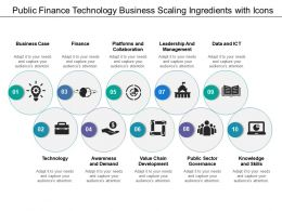 Public Finance Technology Business Scaling Ingredients With Icons