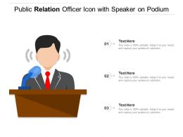 Public Relation Officer Icon With Speaker On Podium