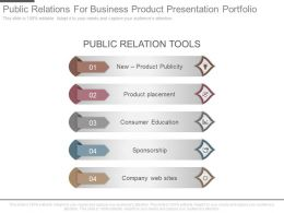 Public Relations For Business Product Presentation Portfolio