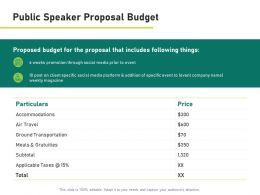 Public Speaker Proposal Budget Accommodations Ppt Presentation Summary Slideshow