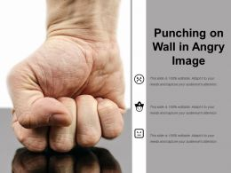 Punching On Wall In Angry Image