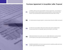 Purchase Agreement In Acquisition Letter Proposal Agenda Ppt Slides