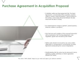 Purchase Agreement In Acquisition Proposal Ppt Powerpoint Presentation Visual Aids Background