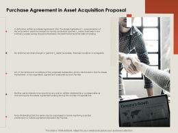 Purchase Agreement In Asset Acquisition Proposal Ppt Powerpoint Presentation Gallery Infographic Template