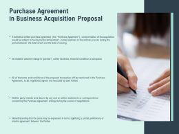 Purchase Agreement In Business Acquisition Proposal Agenda Ppt Slides