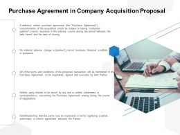 Purchase Agreement In Company Acquisition Proposal Ppt Powerpoint Presentation