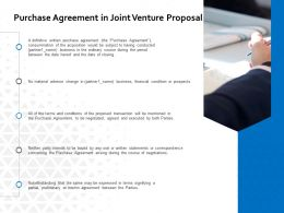 Purchase Agreement In Joint Venture Proposal Ppt Powerpoint Presentation