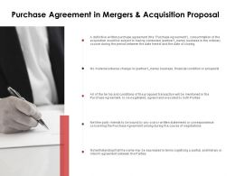 Purchase Agreement In Mergers And Acquisition Proposal Preliminary Ppt Slides