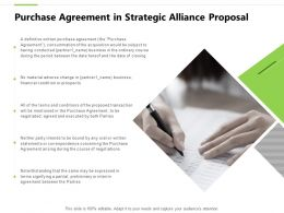 Purchase Agreement In Strategic Alliance Proposal Partial Ppt Powerpoint Show