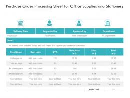 Purchase Order Processing Sheet For Office Supplies And Stationery