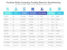 Purchase Order Processing Tracking Sheet For Manufacturing