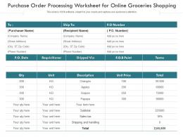 Purchase Order Processing Worksheet For Online Groceries Shopping
