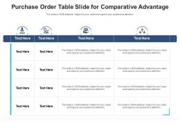 Purchase Order Table Slide For Comparative Advantage Infographic Template