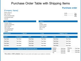 Purchase Order Table With Shipping Items