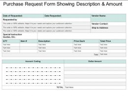 Purchase Request Form Showing Description And Amount