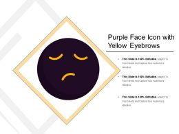 Purple Face Icon With Yellow Eyebrows
