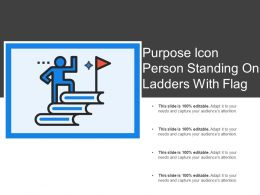 Purpose Icon Person Standing On Ladders With Flag