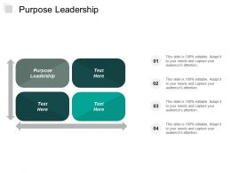 Purpose Leadership Ppt Powerpoint Presentation Portfolio Design Inspiration Cpb