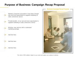Purpose Of Business Campaign Recap Proposal Ppt Powerpoint Presentation Visual Aids Ideas