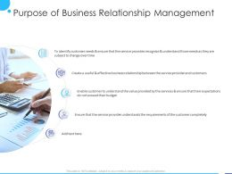 Purpose Of Business Relationship Management Ppt Powerpoint Presentation Pictures