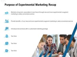 Purpose Of Experimental Marketing Recap Ppt Powerpoint Presentation Outline Graphics