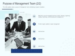 Purpose Of Management Team Planning Ppt Powerpoint Presentation File