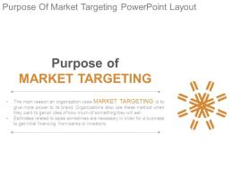 Purpose Of Market Targeting Powerpoint Layout
