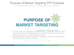 Purpose Of Market Targeting Ppt Example