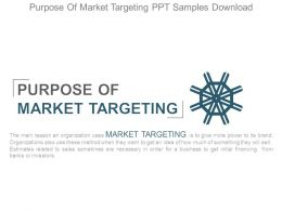 Purpose Of Market Targeting Ppt Samples Download