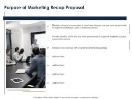 Purpose Of Marketing Recap Proposal Ppt Powerpoint Presentation Slides Vector