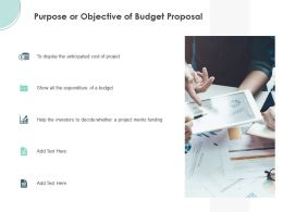 Purpose Or Objective Of Budget Proposal Ppt Powerpoint Presentation Gallery Aids