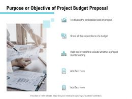 Purpose Or Objective Of Project Budget Proposal Ppt Powerpoint Presentation Model Example
