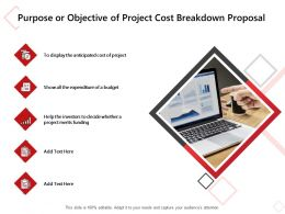 Purpose Or Objective Of Project Cost Breakdown Proposal Ppt Powerpoint Presentation Slides