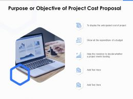 Purpose Or Objective Of Project Cost Proposal Ppt Powerpoint Presentation Model