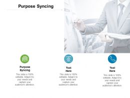 Purpose Syncing Ppt Powerpoint Presentation Infographics Diagrams Cpb
