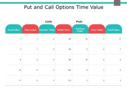 Put And Call Options Time Value Strike Price Ppt Powerpoint Presentation Ideas Grid
