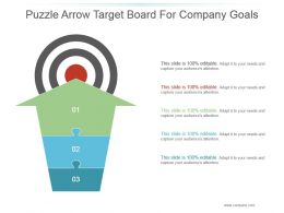 Puzzle Arrow Target Board For Company Goals Ppt Summary