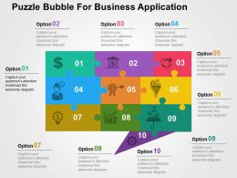 Puzzle Bubble For Business Application Flat Powerpoint Design