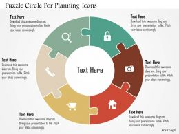 Puzzle Circle For Planning Icons Flat Powerpoint Design