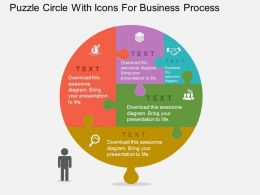 Puzzle Circle With Icons For Business Process Flat Powerpoint Design