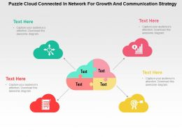 Puzzle Cloud Connected In Network For Growth And Communication Strategy Flat Ppt Design