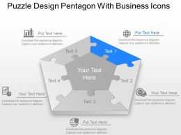 Puzzle Design Pentagon With Business Icons Powerpoint Template Slide