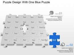 Puzzle Design With One Blue Puzzle Powerpoint Template Slide