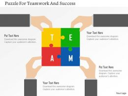 Puzzle For Teamwork And Success Flat Powerpoint Design