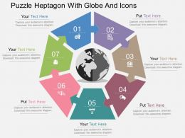 Puzzle Heptagon With Globe And Icons Flat Powerpoint Design
