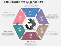 Puzzle Hexagon With Globe And Icons Flat Powerpoint Design