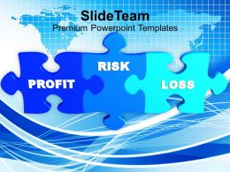 puzzle image with words profit risk loss powerpoint templates ppt themes and graphics 0213