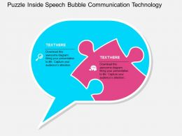 Puzzle Inside Speech Bubble Communication Technology Flat Powerpoint Design