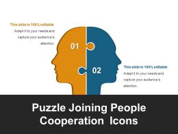 Puzzle Joining People Cooperation Icons Ppt Sample File